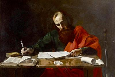 Painting to Saint Paul writing his epistles