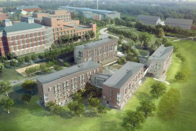 architectural rendering of the Greenway Dorms and the paths around them