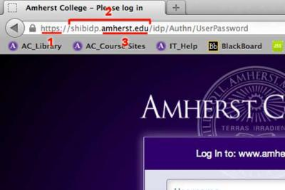 screen capture of a legitimate Amherst College login page