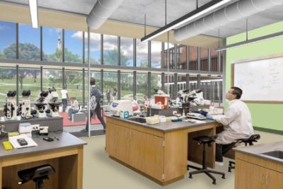 architectural sketch of a lab inside the new science center, to open in the fall of 2018
