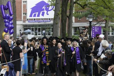 Amherst graduates process onto the quad during Commencement 2018