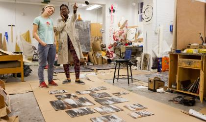 students in a painting studio