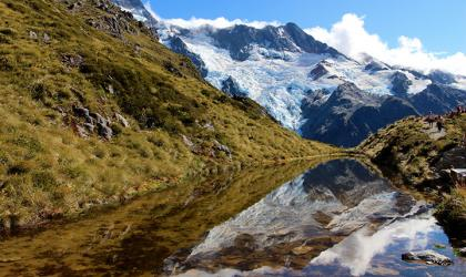 A mountain lake and a mountain range in New Zealand