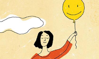 An illustration of a woman holding a balloon with a smily face on it