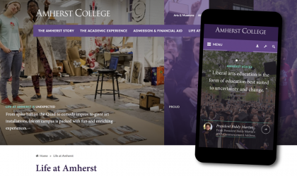 Screenshot of Life at Amherst page, and the college homepage shown on a mobile phone.