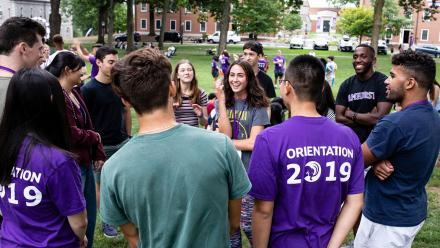 Students gather on the academic quad during orientation activities