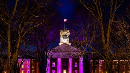 Exterior of Johnson Chapel at night spotlighted by purple lights
