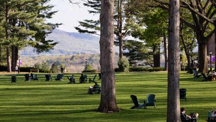 Adirondack chairs scattered on the academic quad at Amherst College