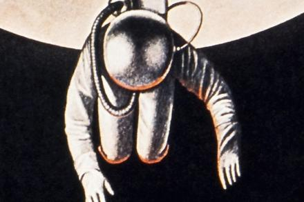 Section of Japanese science fiction film poster featuring a spaceman, by Tadanori Yokoo