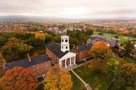 Aerial View of Johnson Chapel and Fall Foliage