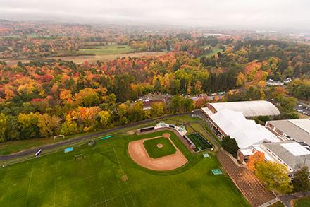 Aerial view of the baseball fields and the athletics facilities at Amherst College