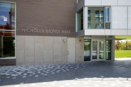 Photo of the exterior of Nicholls Biondi Hall