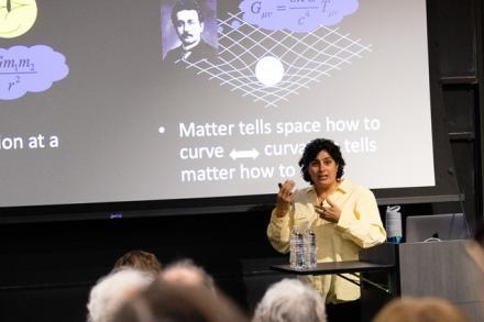 Nergis Mavalvala talks at a podium