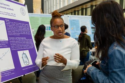 a student presents her science research