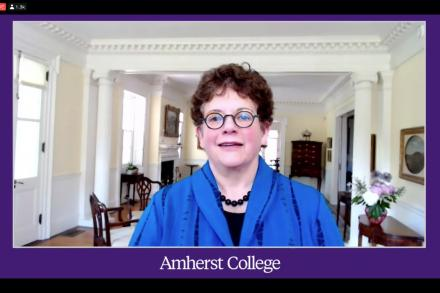 President Martin in her home during a virtual event