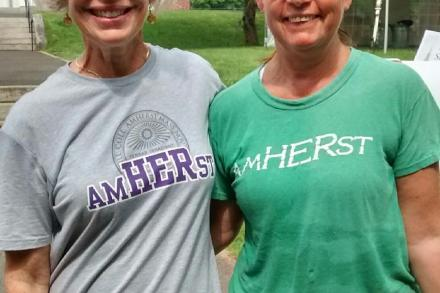 Two alumnae wearing the AmHERst t-shirts