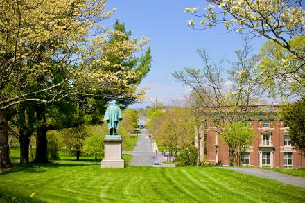 The Amherst College quad with Mount Holyoke in the distance