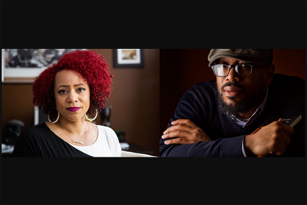Two photos of a black woman with red hair and a black man with glasses and a cap