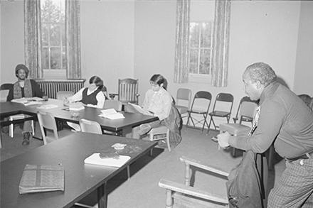 Professor Davis teaching a class in the Octagon, taken in October 1972