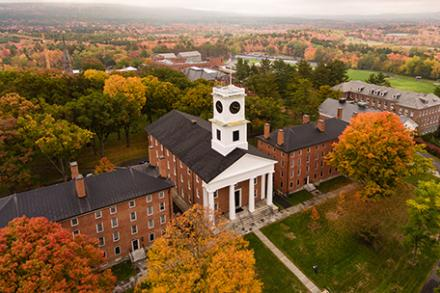 A photo of Johnson Chapel from the air in the fall