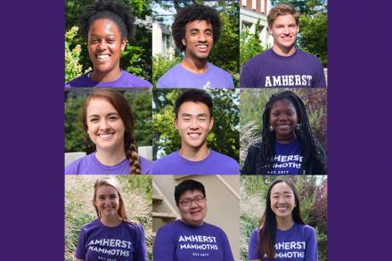 Nine diversity interns, each smiling and wearing a purple t-shirt