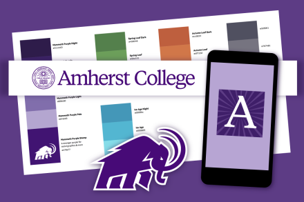 Visual indentity pieces, including a mammoth logo, the college wordmark, and a color chart