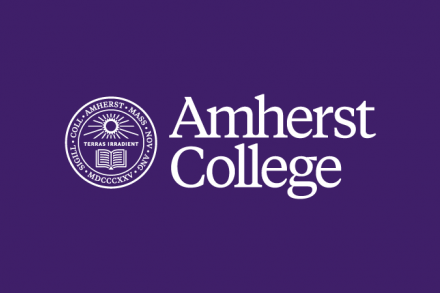 Amherst College seal and wordmark in white on a purple background