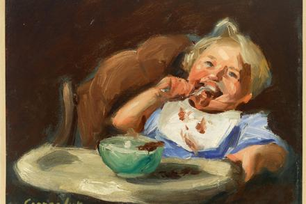George Benjamin Luks (American (1866/67-1933). Child Eating. Oil on canvas. Mead Art Museum. Gift of Dr. and Mrs. Edward F. Babbott (Class of 1945).
