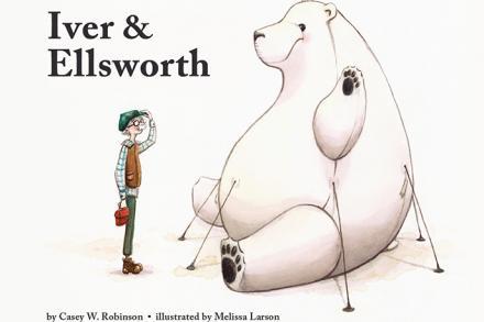 Iver and Ellsworth; an elderly man and an inflateable polar bear