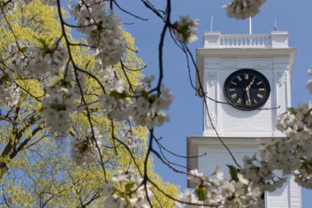 Johnson Chapel viewed through spring flowers
