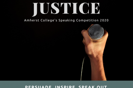 Poster for justice themed speaking competition showing a hand holding a microphone