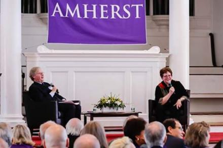 President Biddy Martin speaks with Cullen Murphy '74 in Johnson Chapel during the launch.