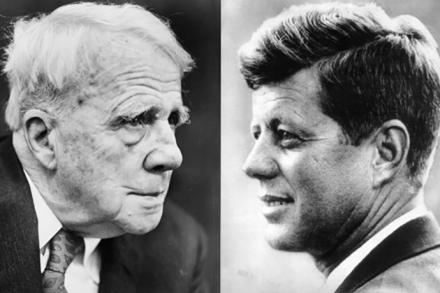 Portraits of Robert Frost and JFK