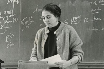 Professor Rose Olver at lecturn (late 1960s)
