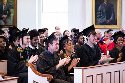 Audience members attending Senior Awards Assembly in Johnson Chapel