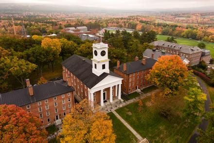An aerial photo of Johnson Chapel in the fall