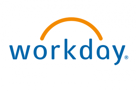 The workday logo with a gold arch over the word