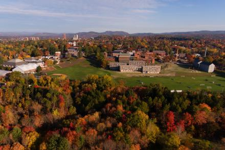 Aerial view from the south of the Amherst campus in autumn