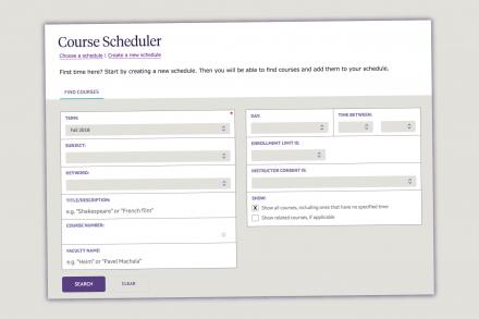 screenshot of the online course scheduler