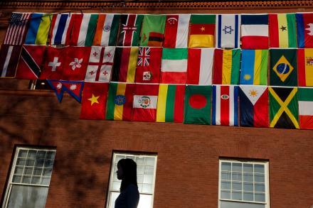 International flags on Fayerweather Hall