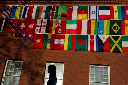 International flags on Fayerweather Hall