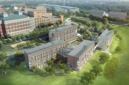 Architectural sketch of the Greenway dorms