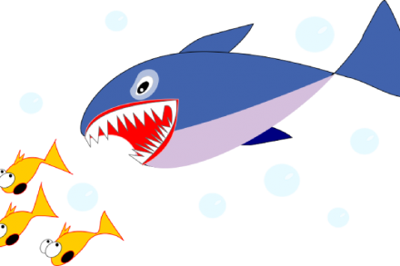 Cartoon shark chasing three cartoon fish
