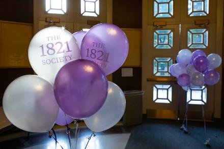 Purple and white balloons