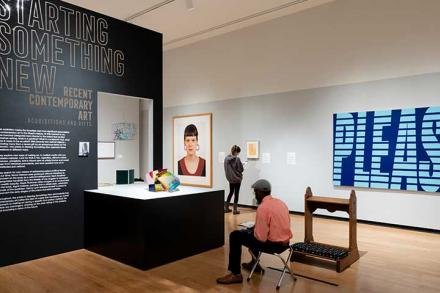 Interior of the Mead Museum, showing the  Starting Something New exhibit.