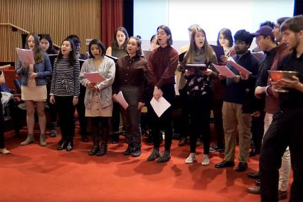 The Amherst Choral Society performing during an Alumni Colloquium