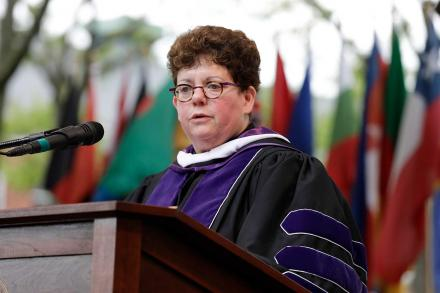 President Biddy Martin addressing the Class of 2018 during Commencement