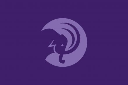 Light purple mammoth head circular logo on dark purple background