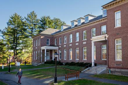 The exterior of Webster Hall on the campus of Amherst College