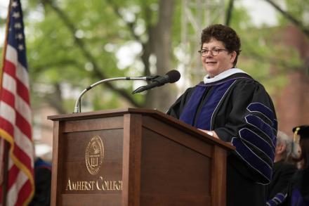 President Martin delivering commencement 2017 address